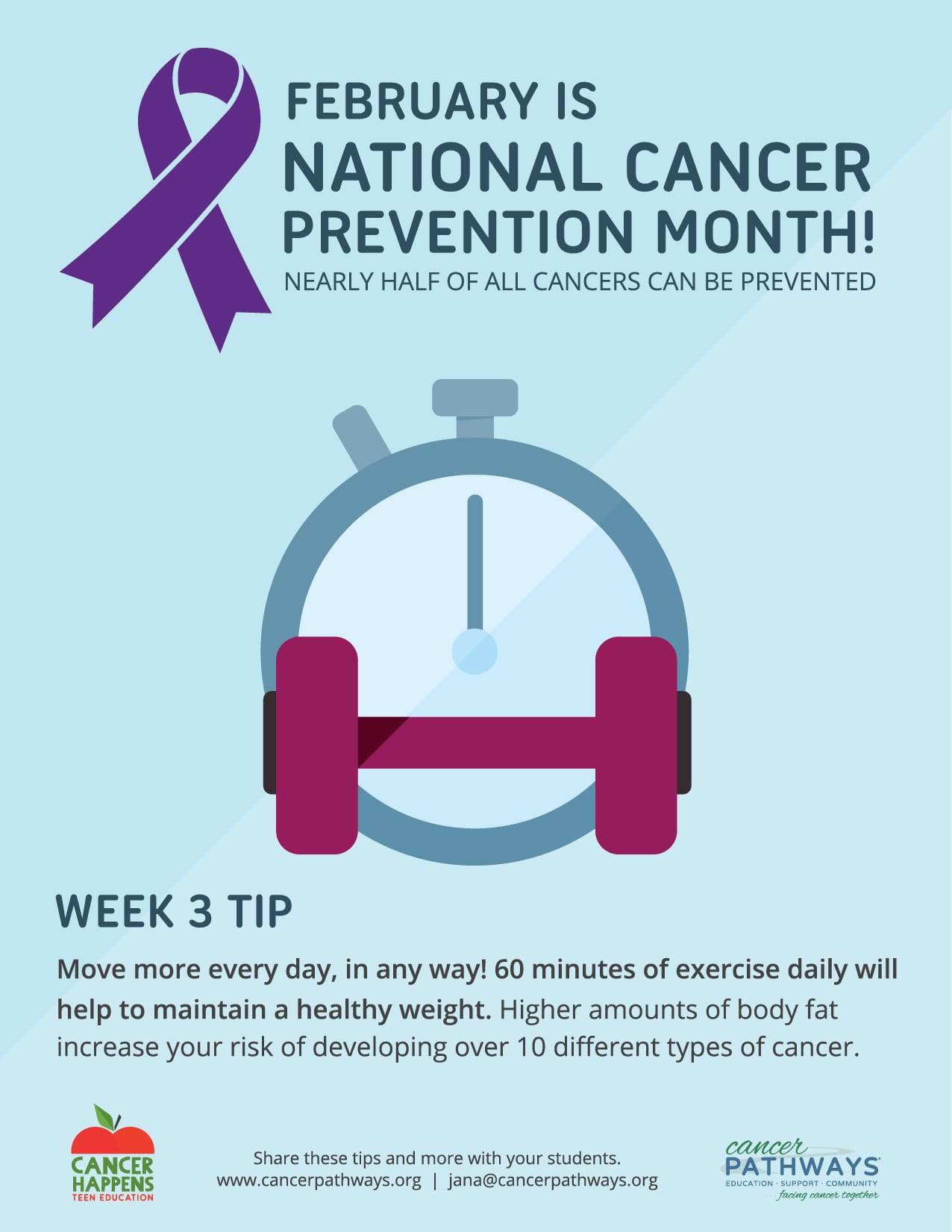 National Cancer Prevention Month - Exercise More